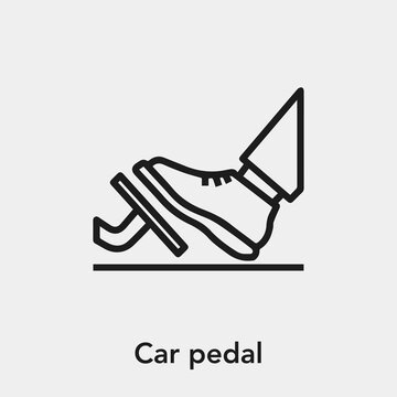 car pedal icon vector. Linear style sign for mobile concept and web design. car pedal symbol illustration. Pixel vector graphics - Vector.