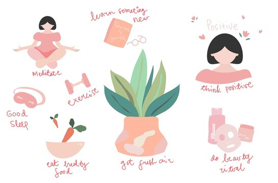 Self-care concept illustration. Flat vector. Hand drew.