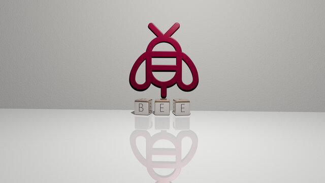 3D graphical image of bee vertically along with text built by metallic cubic letters from the top perspective, excellent for the concept presentation and slideshows. background and illustration
