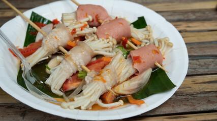 Thai food,yummy pork and mushroom