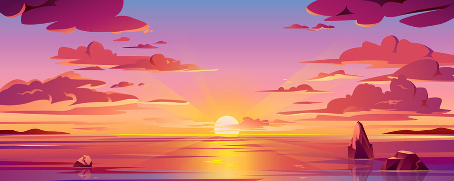 Panorama of sea sunset or ocean sunrise. Vector illustration of water and sky horizon, sun reflection. Dusk or dawn, evening or morning beach landscape. Scenery background or island backdrop