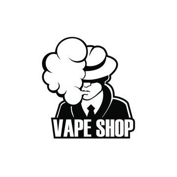 Logo.Vape shop labels emblem badge.  Vector vintage illustration. A man in a hat smokes, silhouette