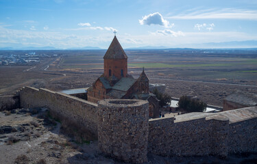 Ancient Armenian monastery at the foot of the biblical mount Ararat Khor Virap.