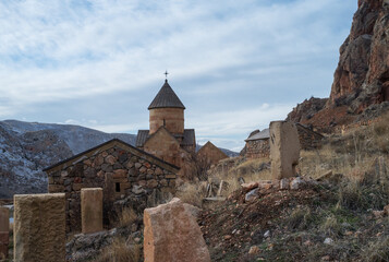 Noravank. Monastery complex in the gorge of the ARPA river tributary near the city of Yeghegnadzor in Armenia.