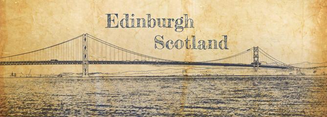 Sketch of Forth Road bridge in Queensferry, Edinburgh