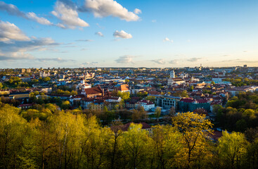 April 27, 2018 Vilnius, Lithuania. View of the old city of Vilnius from Three Cross Mountain.