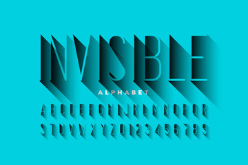 Invisible style font design, alphabet letters and numbers