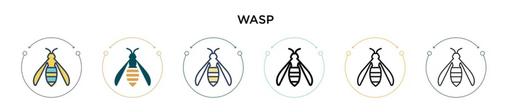 Wasp icon in filled, thin line, outline and stroke style. Vector illustration of two colored and black wasp vector icons designs can be used for mobile, ui, web
