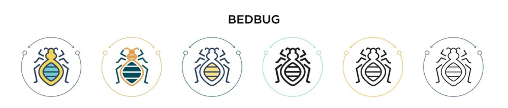 Bedbug icon in filled, thin line, outline and stroke style. Vector illustration of two colored and black bedbug vector icons designs can be used for mobile, ui, web