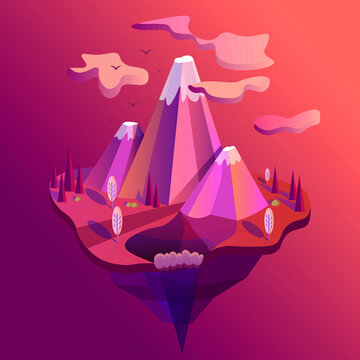 vector illustration of pink fantastic mountains