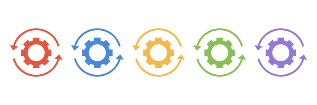 MobileSet gears with arrows in a circle icon isolated on white background. Gearwheel Rotation Direction vector icon. Vector flat illustration.