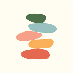 Obraz Vector Illustration of balance made of colored stones. Balance concept. Zen stones flat design style. - fototapety do salonu