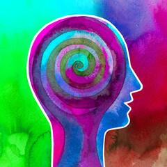 Dipinto acquerello spirale nella testa, cervello. Forza della mente umana