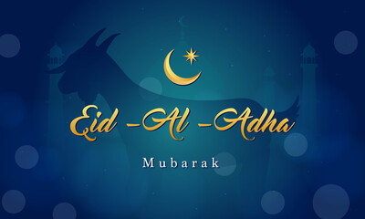Poster Height scale Eid Al Adha Mubarak background Vector illustration, Goat on dark blue bokeh background.