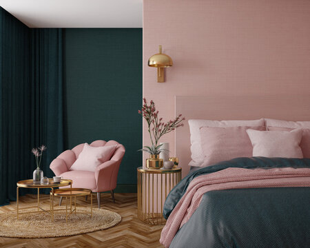 Bedroom interior.Art deco style.Design with green pink and gold color.3d rendering