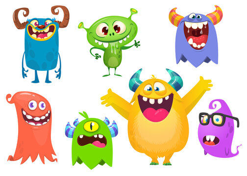 Funny cartoon creatures. Set of cartoon vector monsters isolated