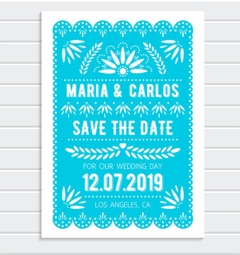 Vector Save the Date invitation template. Papel picado banner with floral pattern. Mexican paper cut style.