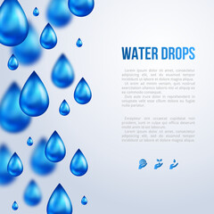 Water Drops Vertical Border with place for text. Vector illustration. Rainy day, blurred rain. Fresh template for card design. Pure organic water. Mountain mineral rich water. Spring water.