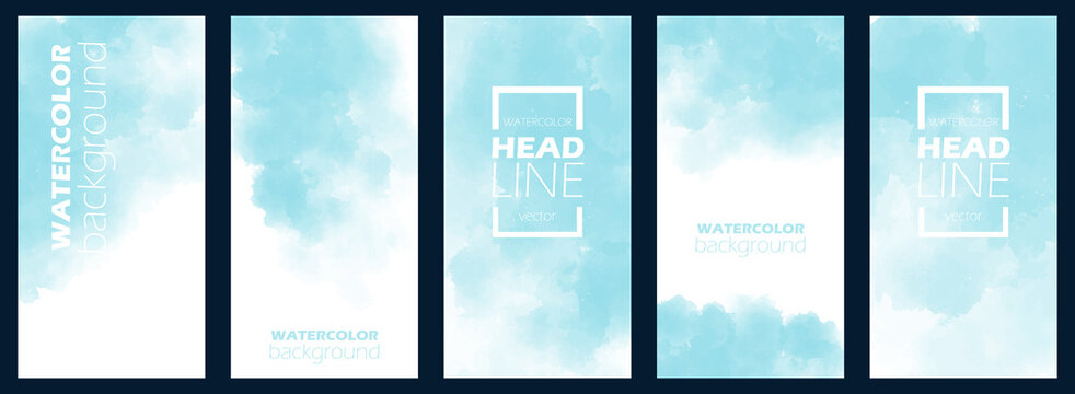 Watercolor set background in bluish style. Flyer, poster or banner template. Bundle of light and blue aquarell for business card. Colorful backdrop with copy space. Floating frame, box.