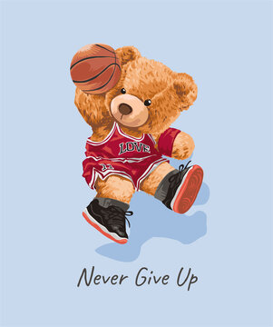 teddy bear in basketball player costume illustration