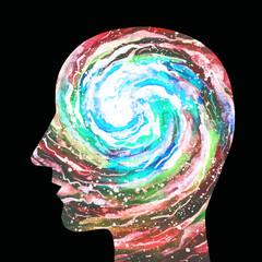 Dipinto acquerello una persona intelligente. Forza della mente. Intuito. Intuizione.