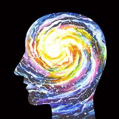 Disegno concettuale sfondo nero consapevolezza. Meditazione, yoga, zen.