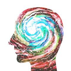 Dipinto acquerello sfondo bianco una persona intelligente. Forza della mente. Intuito. Intuizione.