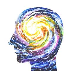 Disegno grafico cosmo nella testa. Ispirazione. Mente creativa. Genio. Artista. Arte.