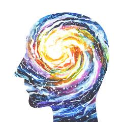 Disegno grafico forza della mente umana. Consapevolezza
