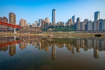 Chongqing, China cityscape at the Jialing River and Qianximen Bridge