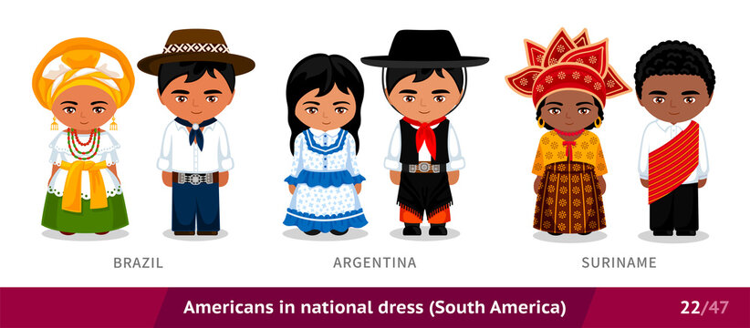 Brazil, Argentina, Suriname. Men and women in national dress. Set of people wearing ethnic clothing. Cartoon characters in traditional costume. South America. Vector flat illustration.