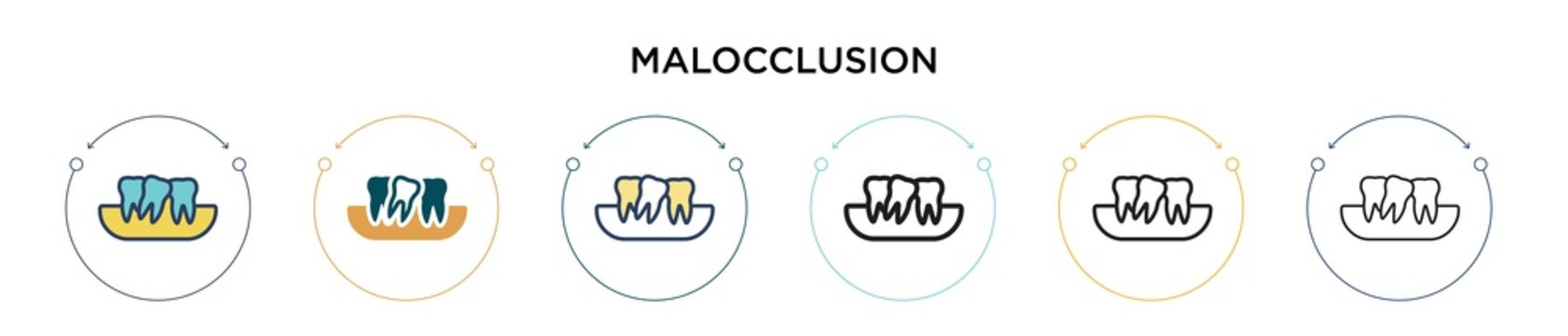 Malocclusion icon in filled, thin line, outline and stroke style. Vector illustration of two colored and black malocclusion vector icons designs can be used for mobile, ui, web