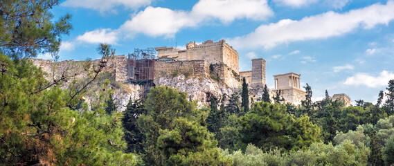 Fototapete - Acropolis with Ancient Greek ruins, Athens, Greece. Panoramic scenic view of old Propylaea