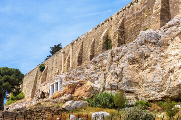 Fototapete - Acropolis with strong old fortress walls, Athens, Greece