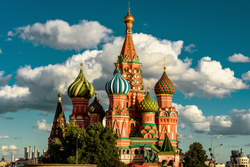 Fototapete - St Basil`s cathedral on Red Square in sunset light, Moscow, Russia
