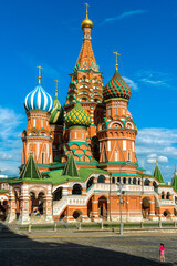 Fototapete - St Basil`s cathedral on old Red Square, Moscow, Russia