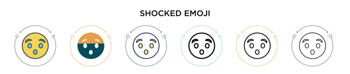 Shocked emoji icon in filled, thin line, outline and stroke style. Vector illustration of two colored and black shocked emoji vector icons designs can be used for mobile, ui, web