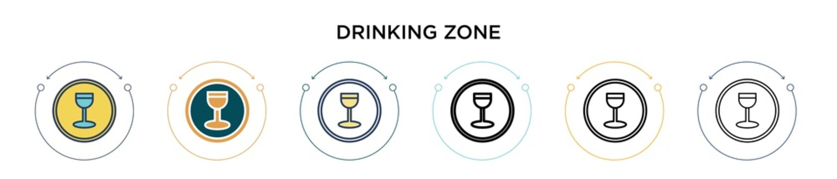 Drinking zone icon in filled, thin line, outline and stroke style. Vector illustration of two colored and black drinking zone vector icons designs can be used for mobile, ui, web