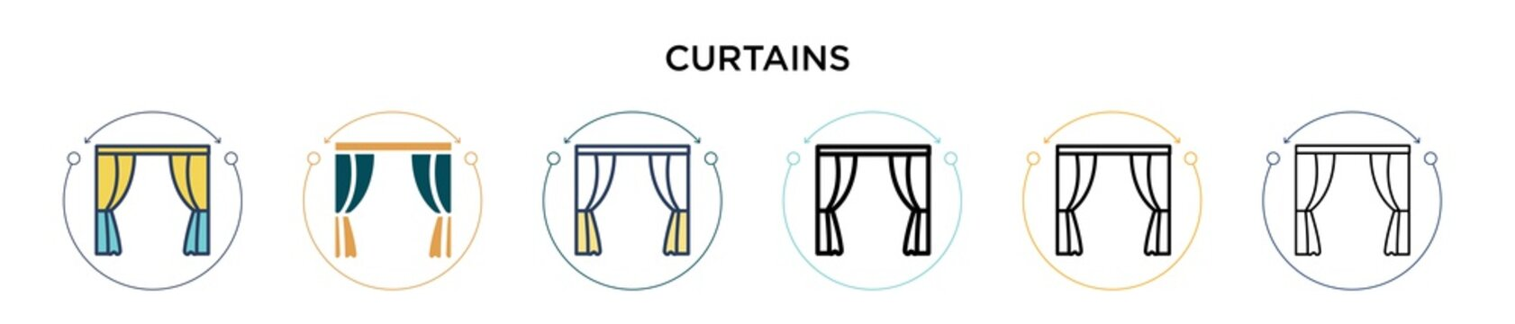 Curtains icon in filled, thin line, outline and stroke style. Vector illustration of two colored and black curtains vector icons designs can be used for mobile, ui, web