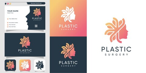 Plastic surgery woman logo with gradient style and business card design template, leaf, woman, beauty, face, nature, organic, Premium Design