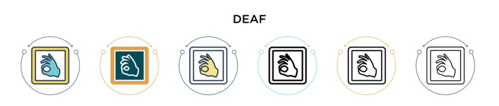 Deaf sign language icon in filled, thin line, outline and stroke style. Vector illustration of two colored and black deaf sign language vector icons designs can be used for mobile, ui, web