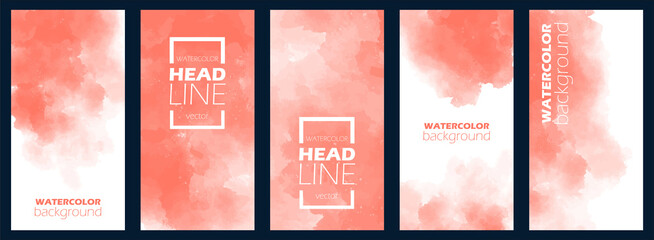 Bundle of watercolor posters, flyers or cards. Banner template with painted background in red color. Vector illustration. Set of light aquarelle for business card. Floating frame with free copy space.