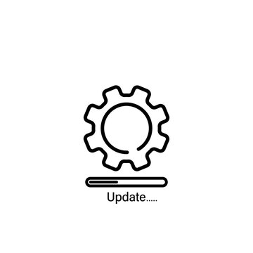 Update system line icon. New operating system, sync, mobile and desktop application development. Vector on isolated white background. EPS 10
