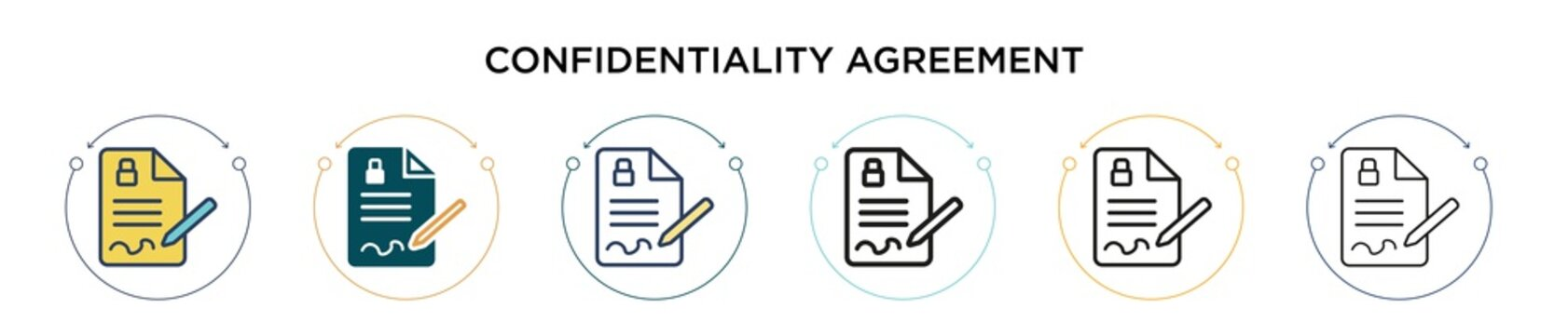 Confidentiality agreement icon in filled, thin line, outline and stroke style. Vector illustration of two colored and black confidentiality agreement vector icons designs can be used for mobile, ui,
