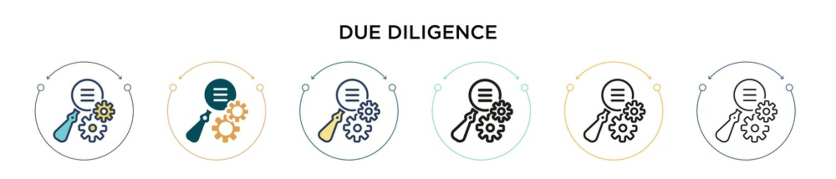 Due diligence icon in filled, thin line, outline and stroke style. Vector illustration of two colored and black due diligence vector icons designs can be used for mobile, ui, web