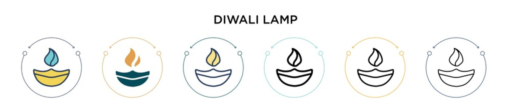 Diwali lamp icon in filled, thin line, outline and stroke style. Vector illustration of two colored and black diwali lamp vector icons designs can be used for mobile, ui, web