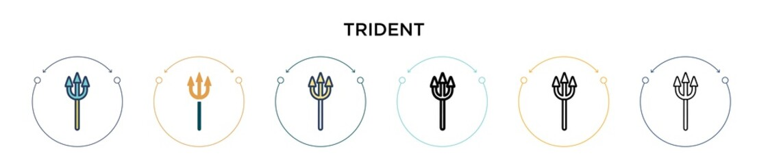 Trident icon in filled, thin line, outline and stroke style. Vector illustration of two colored and black trident vector icons designs can be used for mobile, ui, web