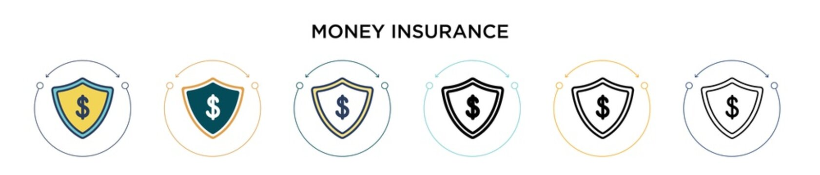 Money insurance icon in filled, thin line, outline and stroke style. Vector illustration of two colored and black money insurance vector icons designs can be used for mobile, ui, web