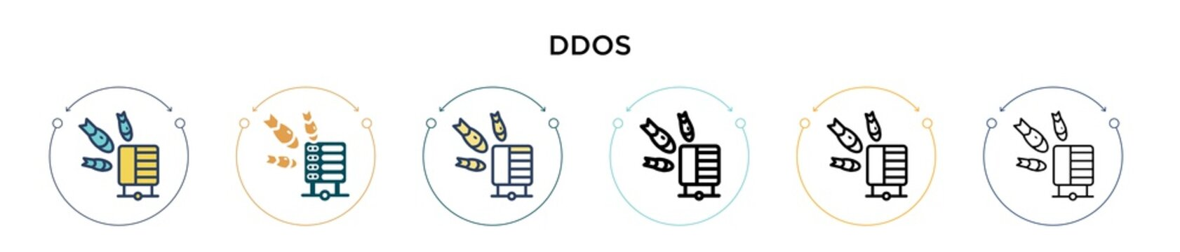 Ddos icon in filled, thin line, outline and stroke style. Vector illustration of two colored and black ddos vector icons designs can be used for mobile, ui, web