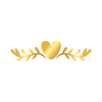 elegant border frame with leafs and heart decoration golden gradient style icon